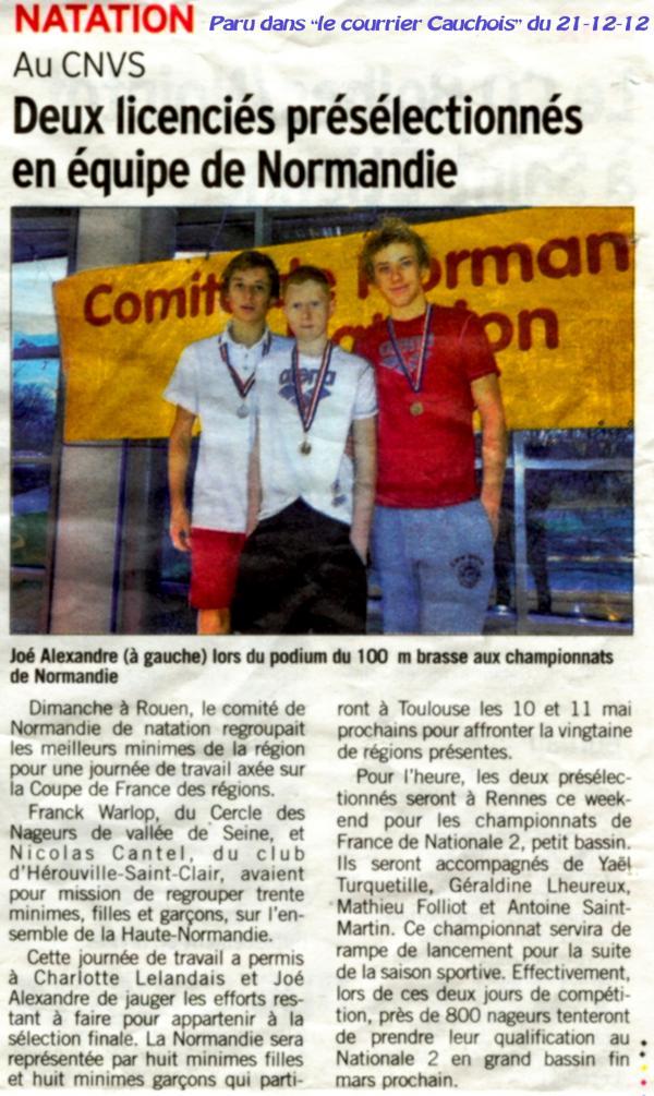 """Meeting de natation """"du bout de l'an"""" à St Lô: La der des der de l'année 2012."""