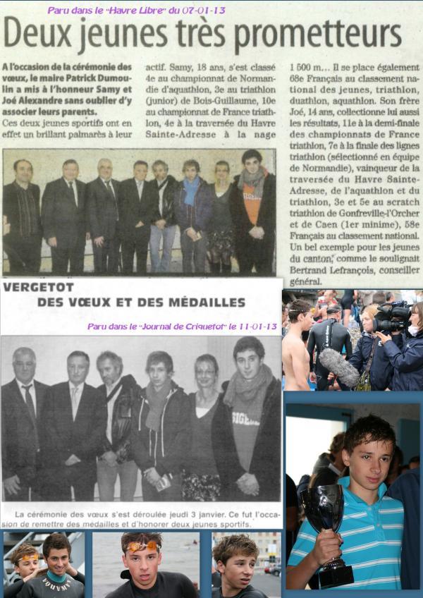 La presse Havraise se fait l'écho de la mise à l'honneur de Samy et de Joé.