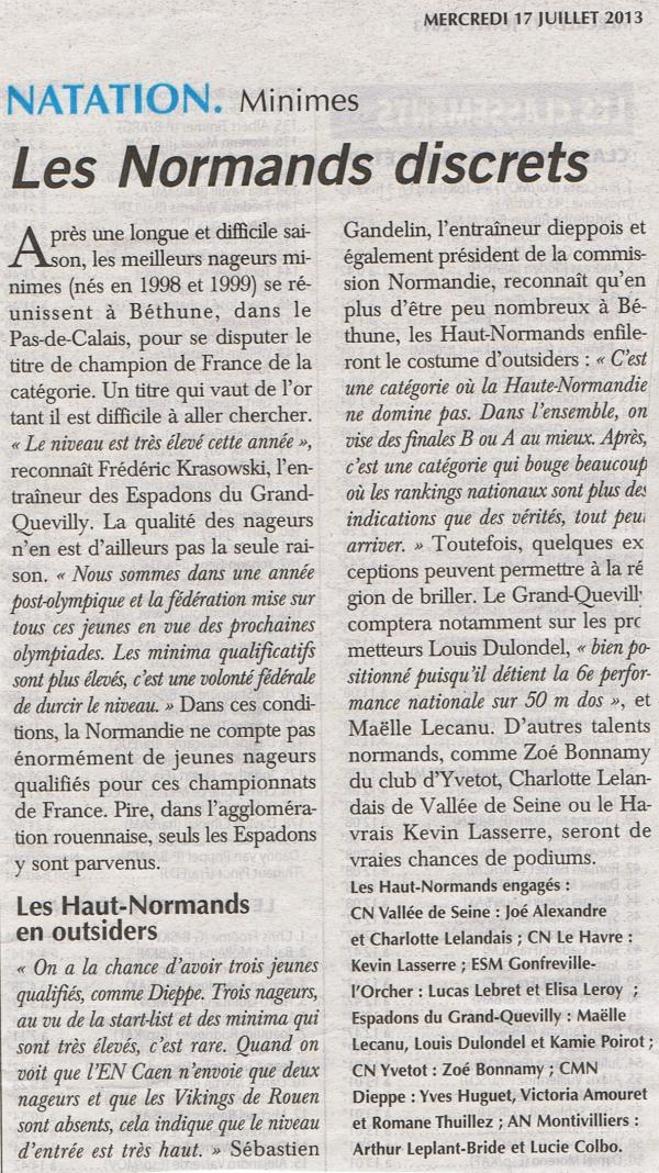 Championnats de France: Natation à Béthune et Aquathlon à Metz.